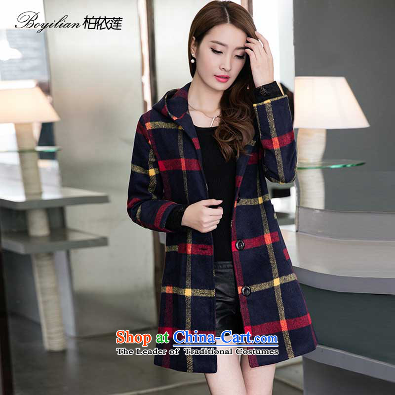 According to Lin Po-2015 winter clothing New Sau San Box long coats of female ez5292? red and yellow,L