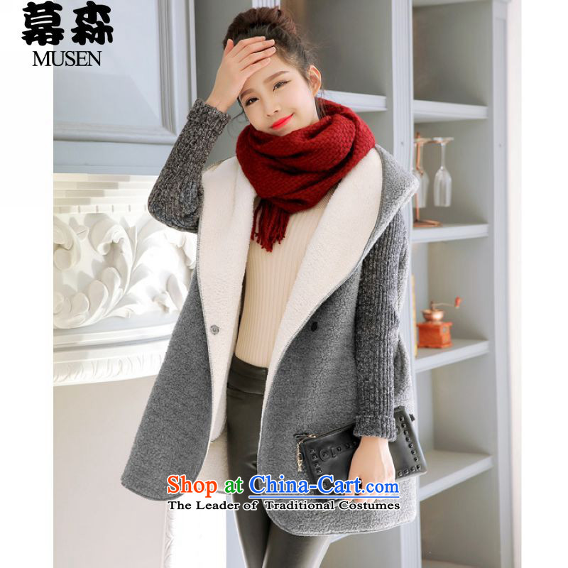 The Korean version of the 2015 Fall/Winter Collections for larger female thick mm thick winter clothing in the Lamb Wool Velvet loose long sweater jacket 200 catties can penetrate gray are code