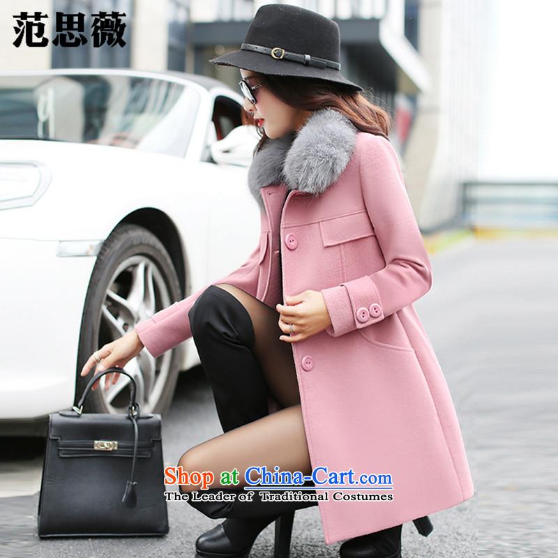 Ms Audrey EU, Mr Winter 2015 new female Korean hip little wind in long-Sau San gross 602_ leather coats? pink XL