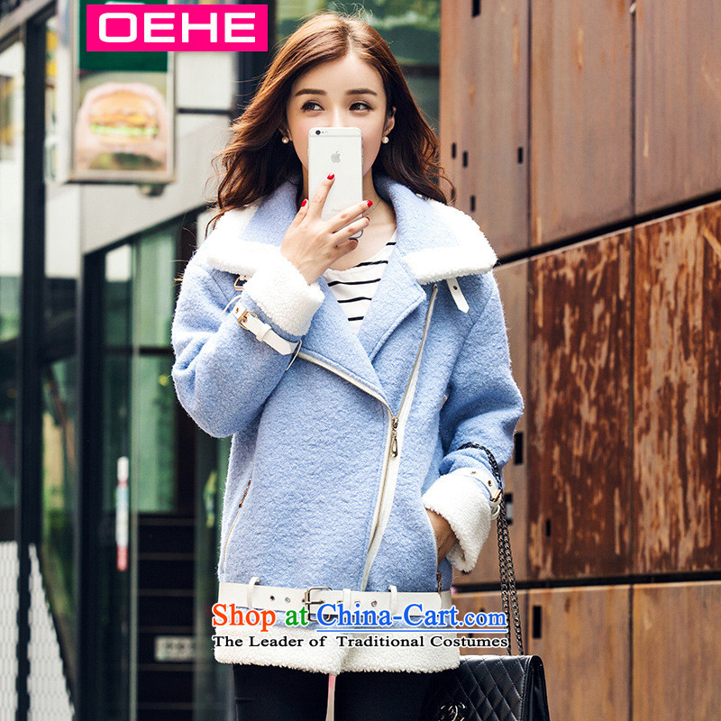 Oehe 2015 autumn and winter new Korean version in the long jacket, Sau San stylish girl video thin lapel long-sleeved jacket in light blue燬