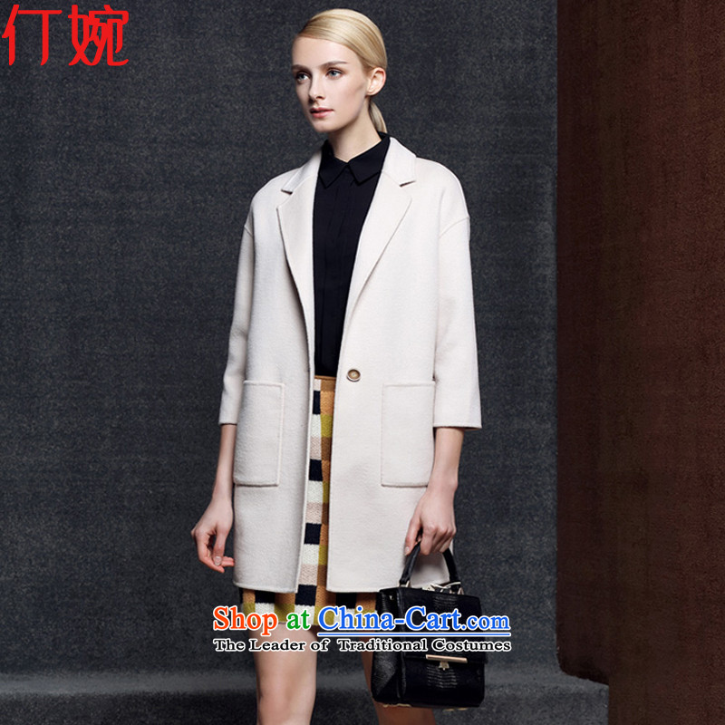 The suspension of the autumn and winter 2015 Yuen new woolen coat cashmere overcoat Sau San pure color female two-sided jacket coat? female gross 5006 m White燣