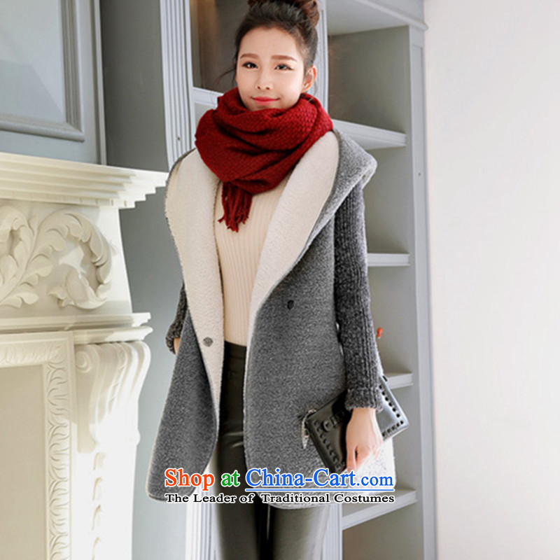 2015 Fall_Winter Collections new to increase women's code thick mm thick sweater thick, Hin thin, 200 catties thick Korean version of SISTER long Lamb Wool Velvet jacket gray are code