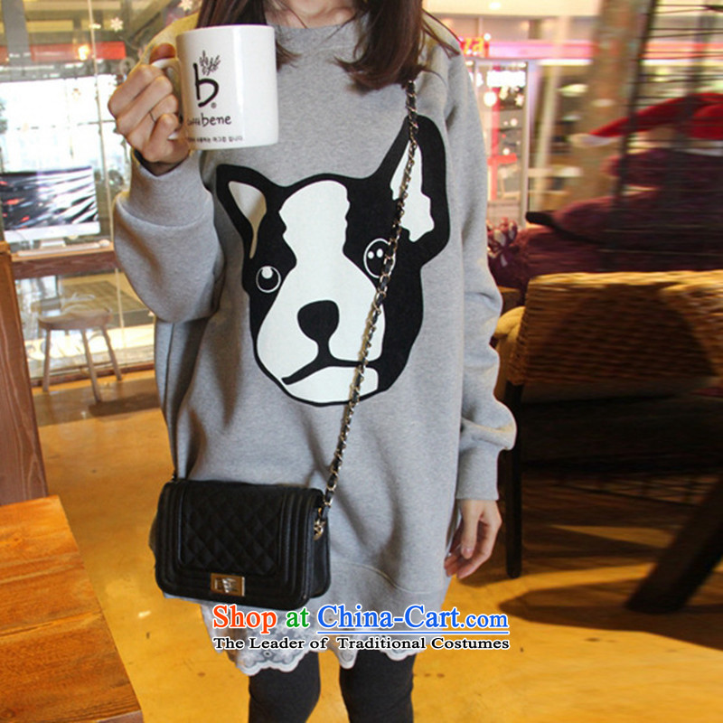 2015 Fall/Winter Collections new Korean to increase women's code thick MM loose, Hin thin, thick thick sister 200 catties Plus kit and members of thick wool jacket XXXL Light Gray