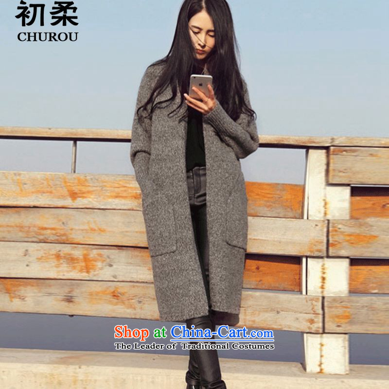 At the beginning爋f the autumn and winter 2015 Sophie Korean version of large numbers of ladies relaxd thick mm video thin minimalist thick long-sleeved sweater in long cardigan 200 catties can penetrate the commission will gray