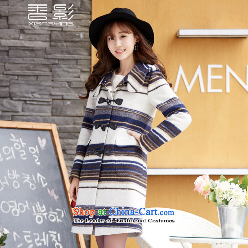 The shadow of the Heung long jacket, female�15 winter clothing new streaks knocked colors? jacket horns detained a wool coat navy blue燤