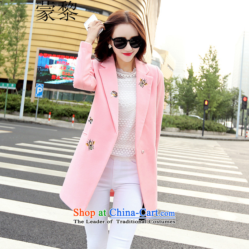 Montevideo Lai gross coats female autumn and winter? autumn 2015 Women's jacket Korean video thin embroidery gross Sau San? coats female pink燣