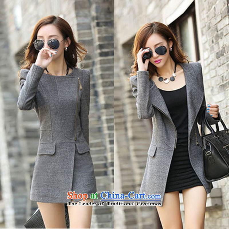 Korea's 2015 autumn and winter in new long hair Q2016 jacket grayS?