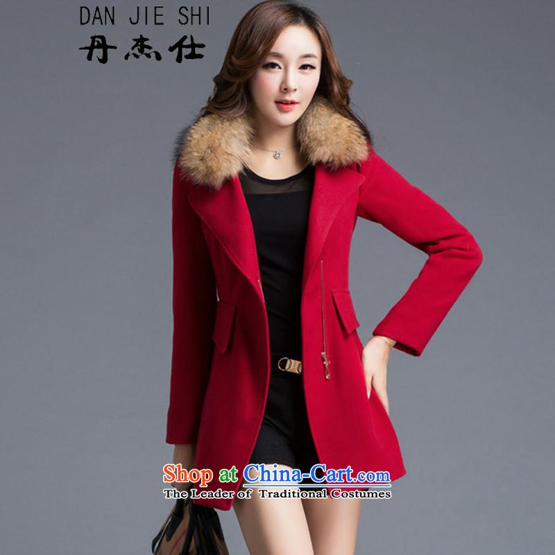 Dan JIE SHI MAO? 2015 autumn and winter coats female new Korean version of a jacket Sau San video thin hair? girls jacket long redL _General_