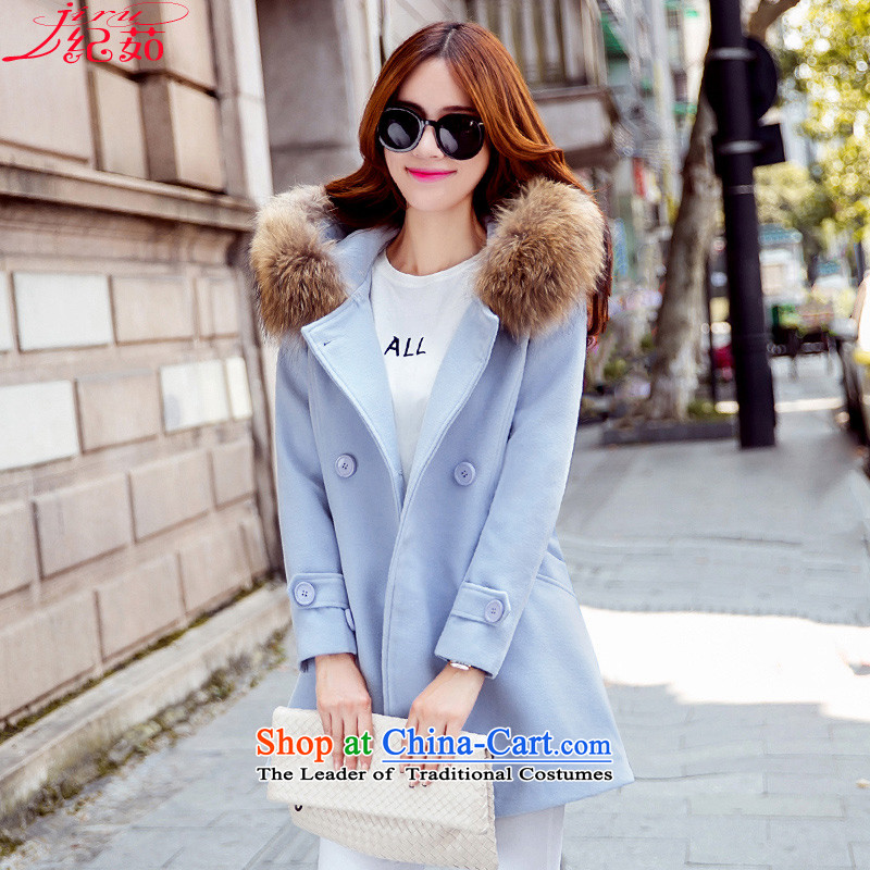 Ju 2015 autumn and winter and discipline in the new long hair? jacket Korean Sau San video thin double-cap for gross A cloak leisure a wool coat larger women's skyblue    L