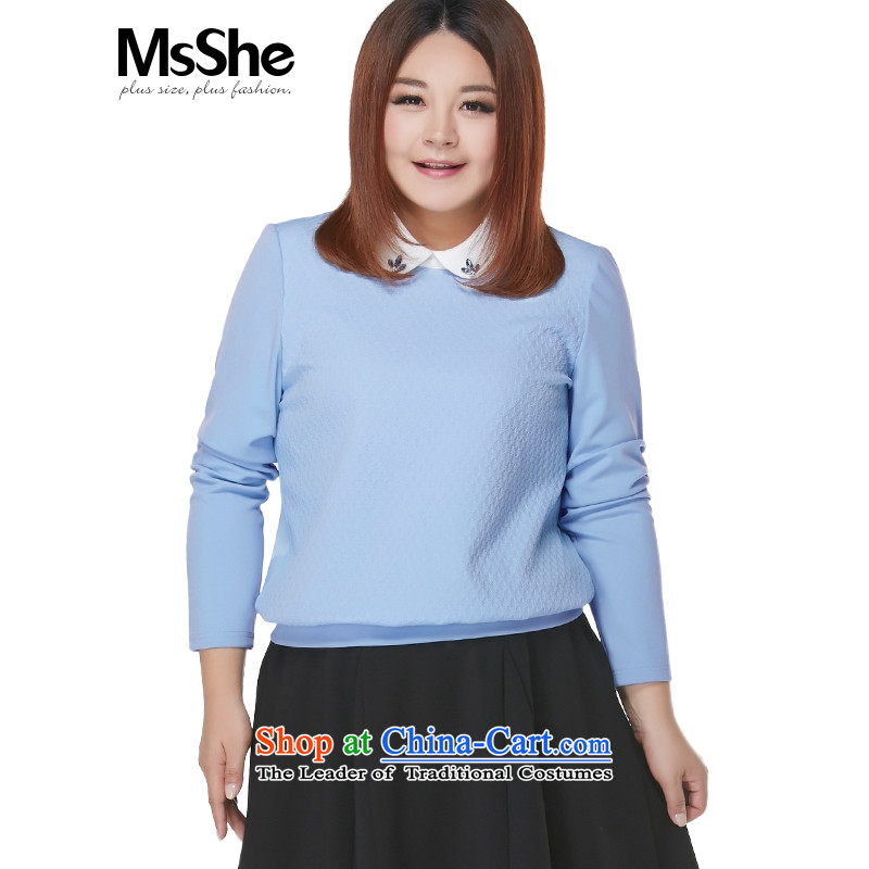 Msshe xl women 2015 new autumn and winter thick sister elegant dolls long-sleeved shirt collar 10070 blue 2XL