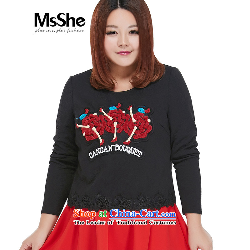 Msshe xl women 2015 new autumn and winter 200 catties embroidery stitching long-sleeved shirt 10545 Black 3XL T-Shirt