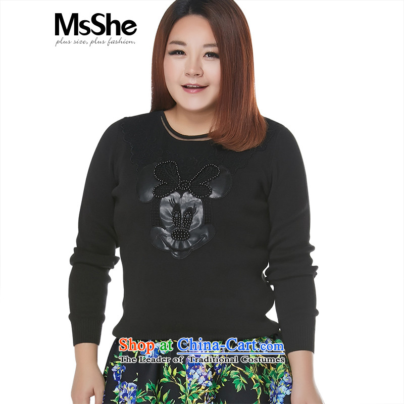 Msshe xl women 2015 New Fall_Winter Collections thick MM cartoon images of the Breast sweater pullovers 4585th black2XL