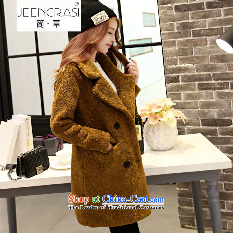 In short straw 2015 Fall_Winter Collections new double-side cashmere overcoat female Hair Girl In The jacket coat? Long Hair Girl Korean jacket?   and Kim Ho?M