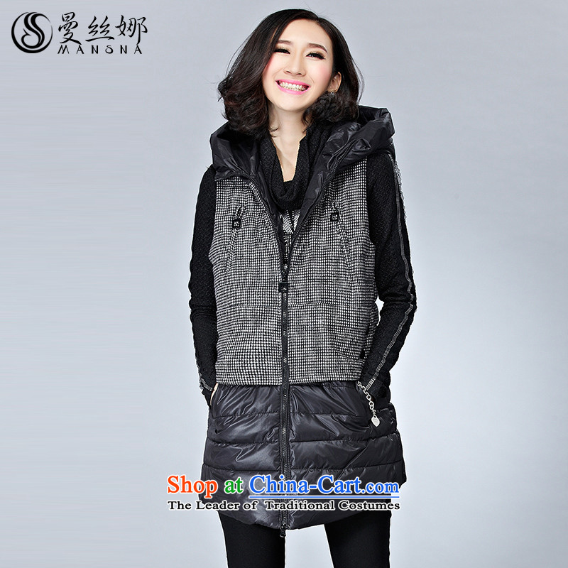 The population of the Cayman to increase women's code thick winter 2015 mm thick sister. Long vest jacket coat cap Ma?3XL Clip Black