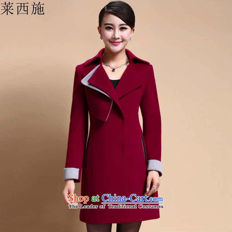 Gloria Xi Shi 2015 Autumn replacing the new Korean jacket coat of Sau San Mao? female autumn and winter聽1009 聽high-Gwi-red聽L