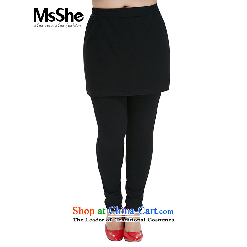 Msshe xl women 2015 new autumn and winter thick sister wild forming the false two skort package and pre-sale 10678 Black A T3 line for the pre-sale of goods to 12.10