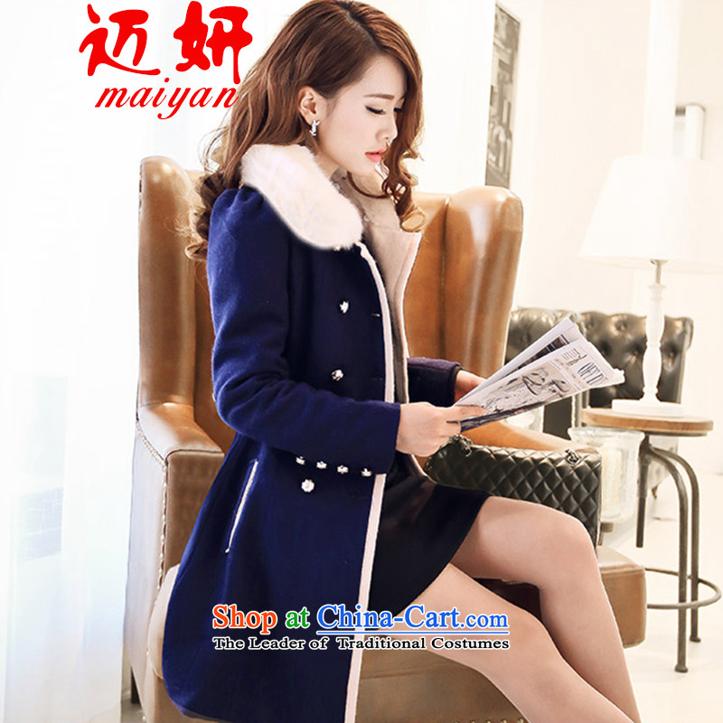 Mai 2015 Autumn Yeon for women new Gross Gross Women's coat??   in the Korean version of the jacket long jacket, gross flows collar-navy blue cotton plus M
