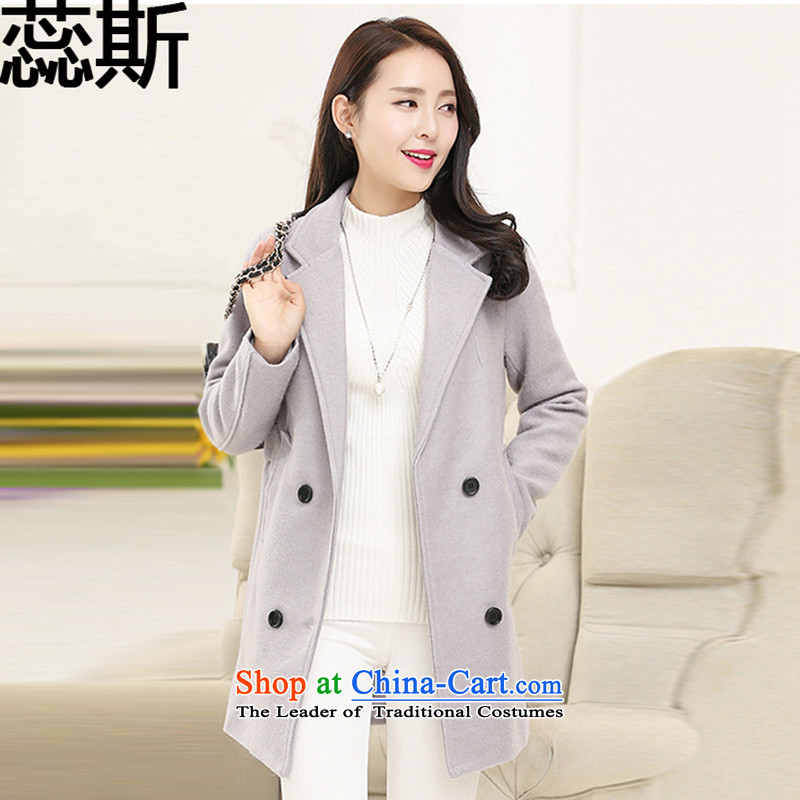 The 2015 Korean Yui Sau San double-long coats gross? 789 light gray female  L