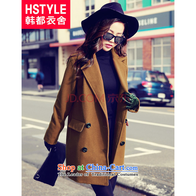 Korea has the Korean version of the Dag Hammarskjöld yi 2015 winter clothing new women's solid color lapel loose coat MR5902 gross? deep and Color M