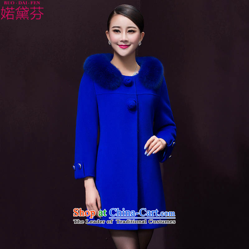 Refer to Doi fen 2015 autumn and winter in new long hair? jacket coat a wool coat female 6,393 Blue?L