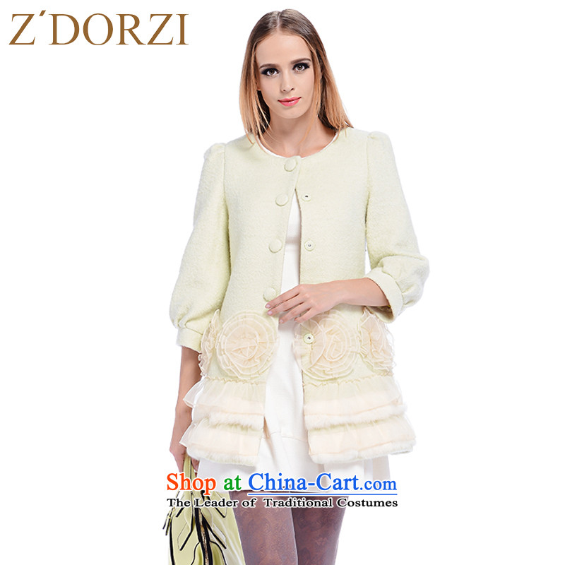 Zdorzi_ colorful Cheuk-yan 2015 autumn and winter new stylish 7 lanterns take long-sleeved stereo gross jacket�8302?燤r Gary CHENG light green燤