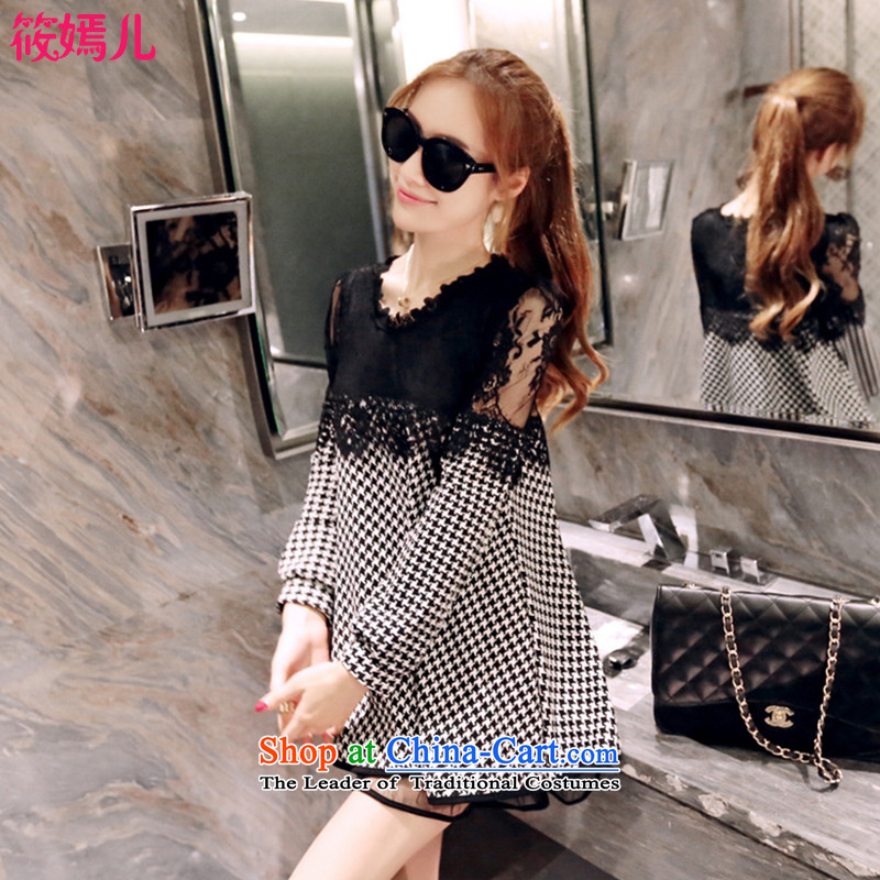 Shinu party-load new autumn 2015 Korean version of large numbers of ladies thick MM video thin loose lace stitching long-sleeved dresses there were 6,616 hotel picture color燲XXL