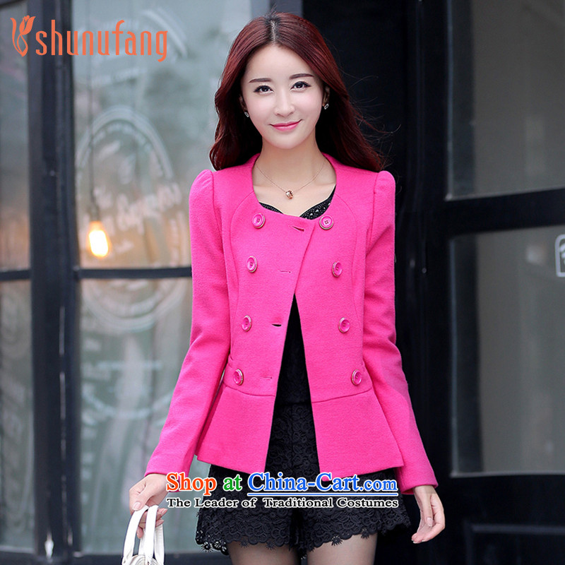 Had to hold workshop on women 2015 winter clothing new small-round-neck collar long-sleeved video wind jacket L4436719 thin powder of?M