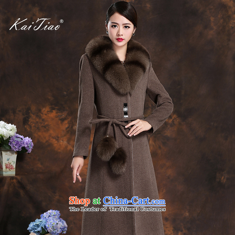 High-end in     long cashmere overcoat female 2015 New Fox for coats women's Gross Gross coats and color mixing? XXL