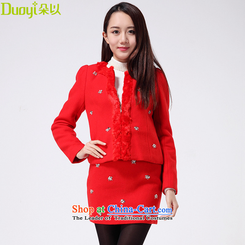 To winter new flower exquisite nail Pearl? jacket female sweet to gross shortage of Sau San a wool coat 29DD42929 chinese red燬
