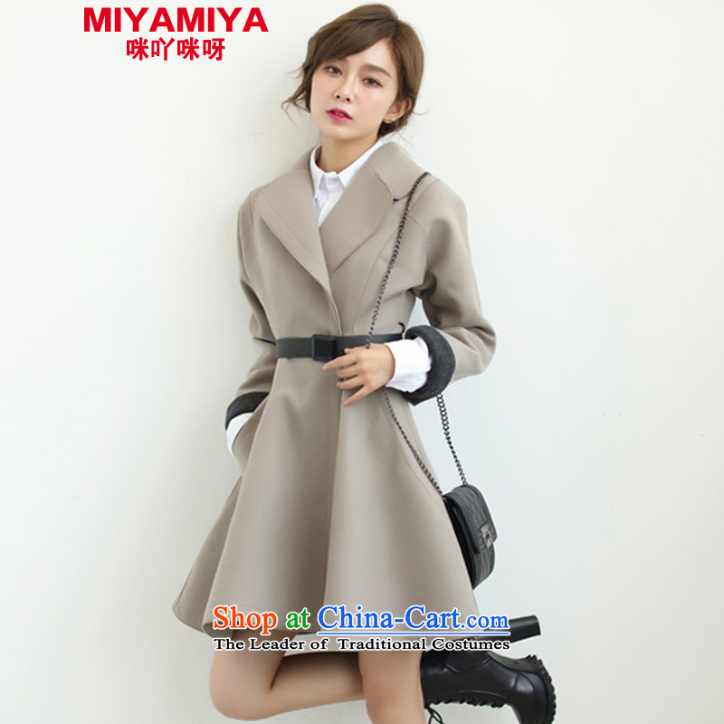 Miyamiya2015 autumn and winter new Korean Sau San cloak? jacket in gross long foutune petticoats gross a wool coat female gray聽M