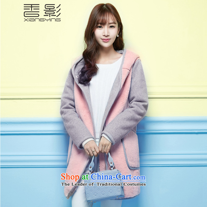 Ms. heung woolen coat 2015 winter shadow new Korean Sau San with cap wool sweater in a long pink M