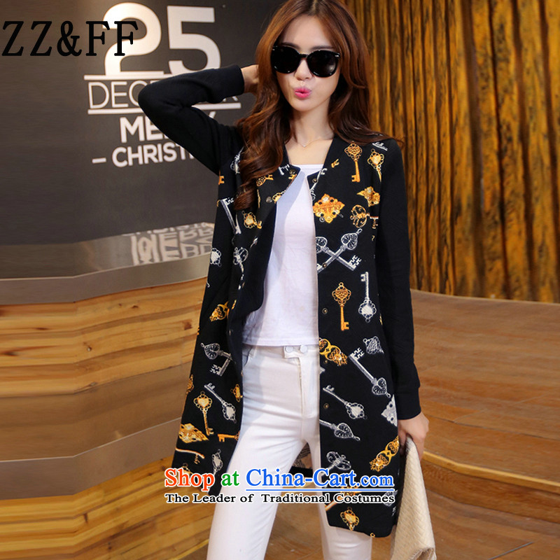 2015 Autumn and winter Zz_ff new Korean large relaxd and video clip cotton waffle thin stamp in long coats of small black windbreaker燲XXL female