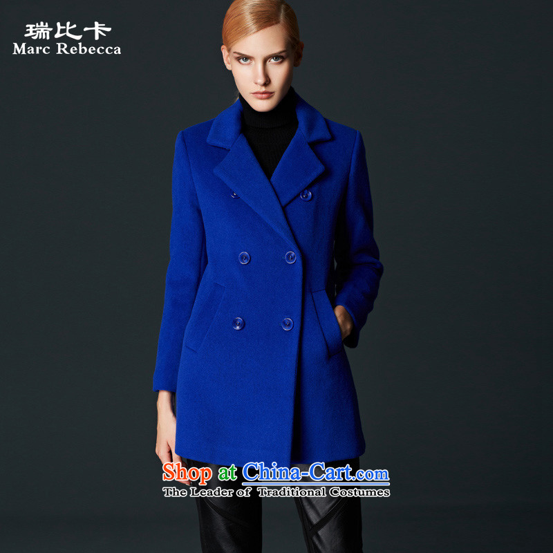 Labortex card brands women 2015 autumn and winter new commuter OL van wild double-wool female blue overcoat?燲L