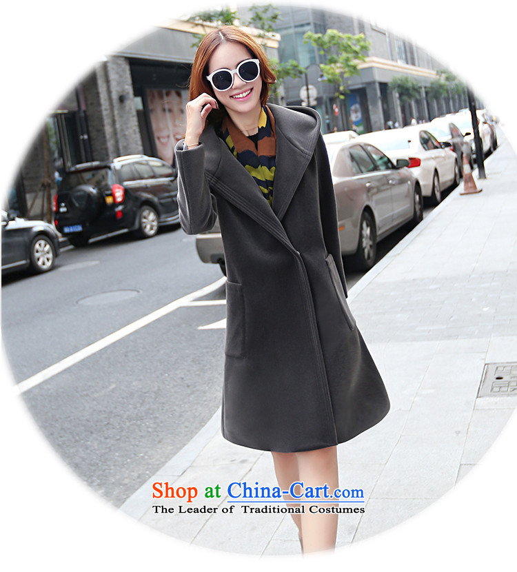 Calls upon the new 2015 stylish gross? Version Korean jacket long small incense wind cap loose cashmere overcoat female winter Yellow聽M picture, prices, brand platters! The elections are supplied in the national character of distribution, so action, buy now enjoy more preferential! As soon as possible.