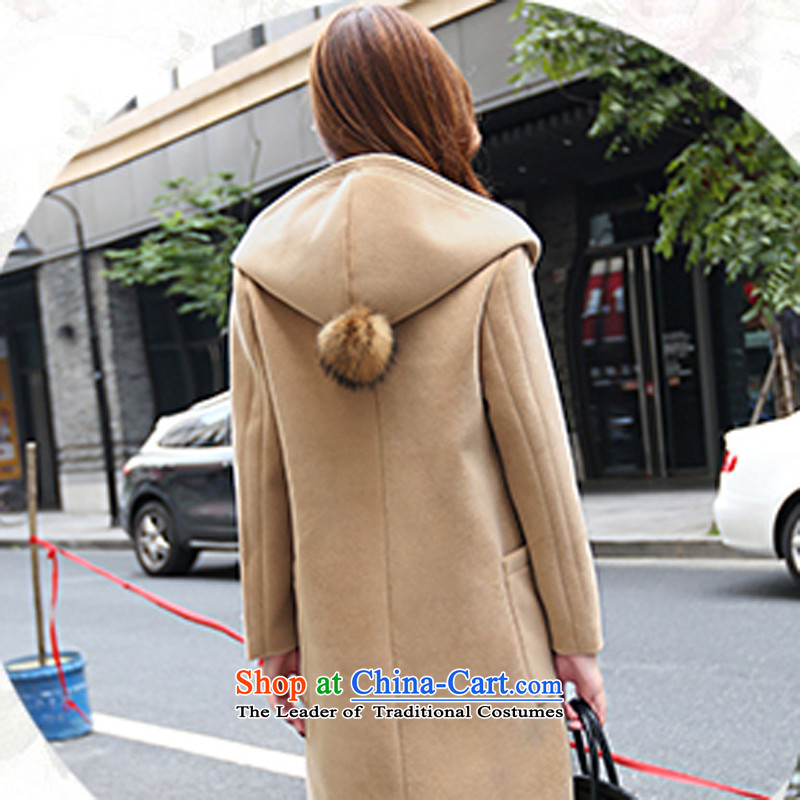 Calls upon the new 2015 stylish gross? Version Korean jacket long small incense wind cap loose cashmere overcoat girl聽called upon the winter Yellow M , , , shopping on the Internet
