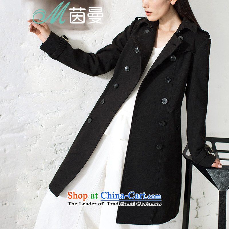Athena Chu Cayman Fanfan Faninstalled new autumn 2015 solid color graphics and slender waist_? overcoat girl _8533210365- Black Ink GrayL
