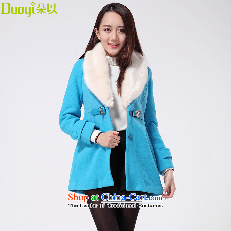 Flower In winter the new Korean female presence among the gross? jacket for the gross Sau San a wool coat 29DD72936 lake blue S