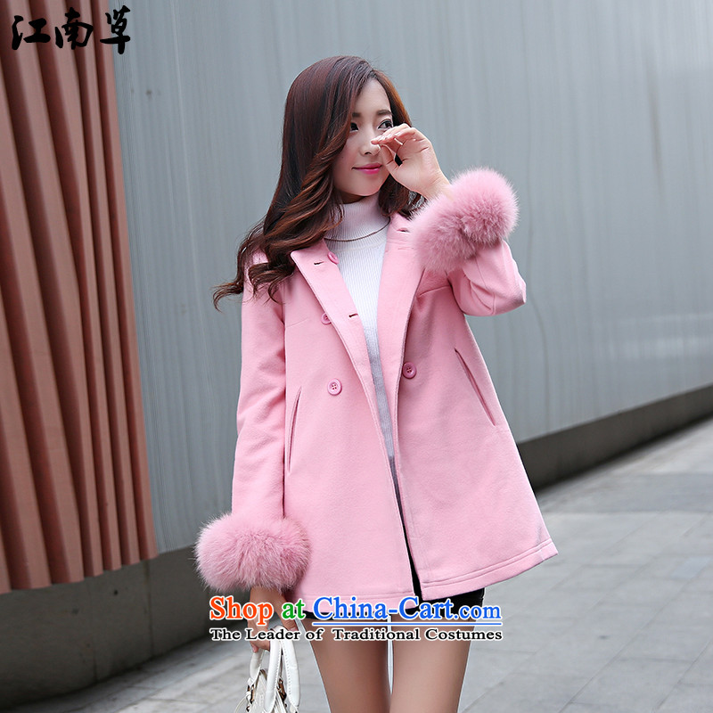 The Gangnam grass in the autumn and winter new long hair? coats female wild stylish Sweet, Sau San elegant double-pink jacket coat L