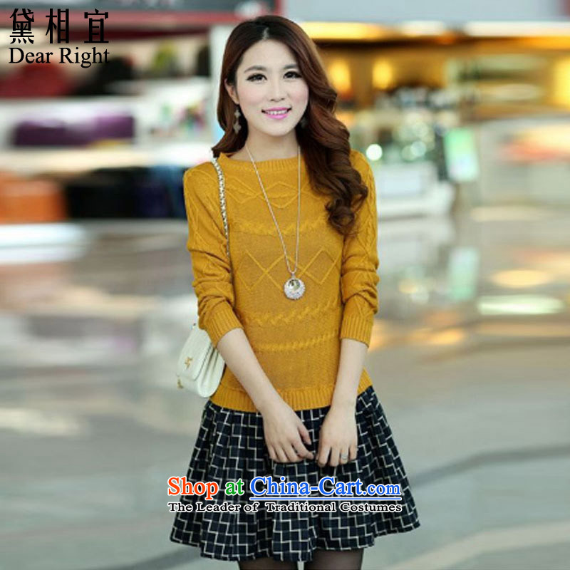Doi affordable 2015 autumn and winter to increase women's code thick sister MM leave two forming the knitted sweaters dresses 200 catties video in thin long skirt yellow 3XL_ recommendations 170-200 catties_