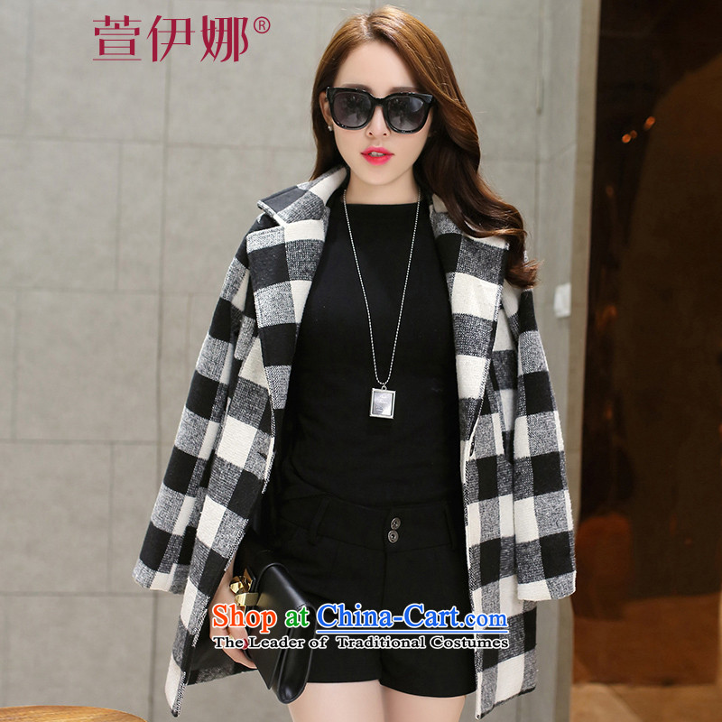 Xuan ina 2015 autumn and winter new a wool coat female Korean fashion in the Sau San long latticed lapel gross flows of female jacket? checkered L