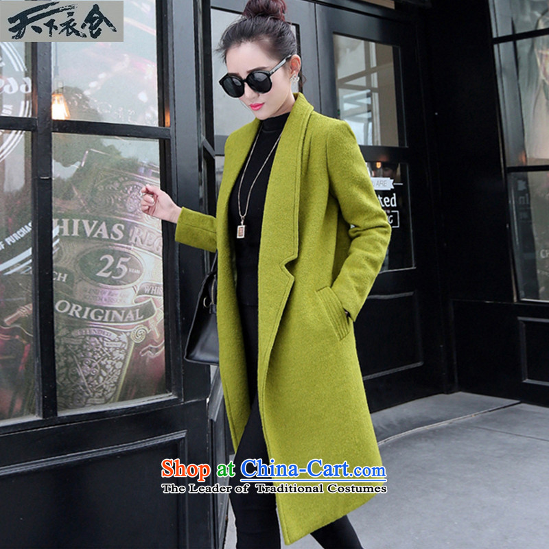 The World 2015 autumn and winter clothing stores new gross girls jacket?   Korean long thick wool a wool coat female green燤