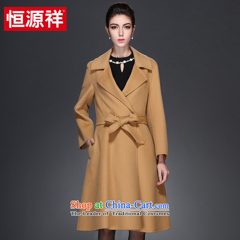 Hengyuan Cheung 2015 autumn and winter new two-sided woolen coat in long high-end wool coat female plain manual?�And Color�0 XL