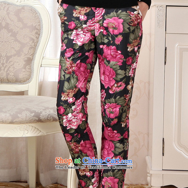 Hang Cheung winter clothing in the source of older women's clothes thin feather mother trousers, wearing a thick warm down inside the pot-of-Season 8_ Peony floral 165 88A. L