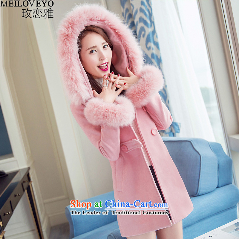 The land of the autumn and winter 2015 New Female Cap Gross Gross Korean leaders and women in Sau San temperament long hair? MLY2862 pink jacket femaleM