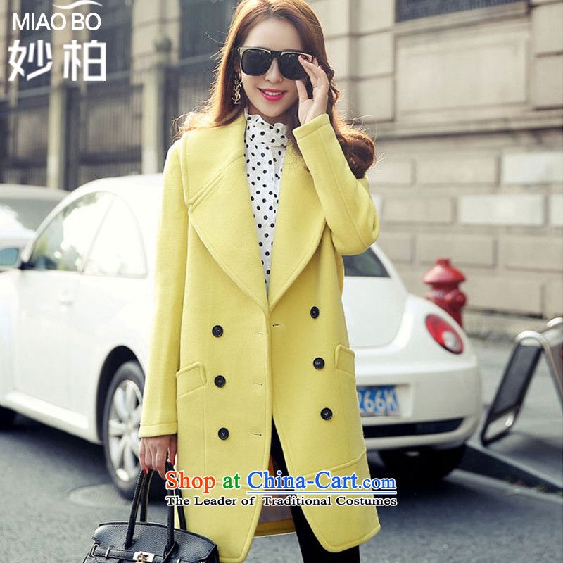 Mya Pak gross jacket coat? The autumn and winter 2015 female new Korean version in the Sau San long a wool coat windbreaker lemon yellow燤