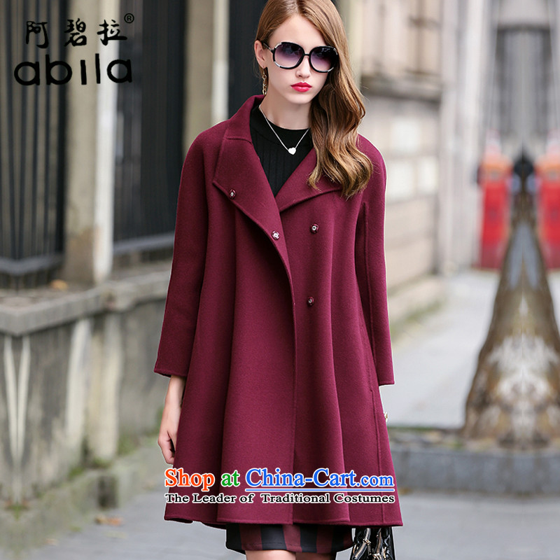 The high-end-pik classic plain manual two-sided cashmere cloak? female gross. Ms. long woolen coat loose cloak? jacket abl10127 gross bourdeauxL