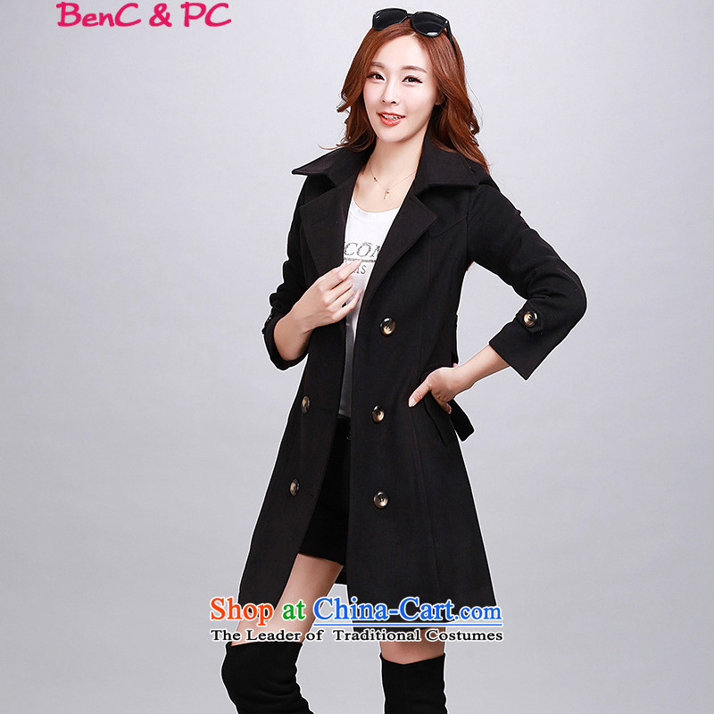 The Korean version of the new 2015 Sleek and versatile double-Sau San video in the lapel thin long hair? coats topper with waistband autumn and winter female black燤