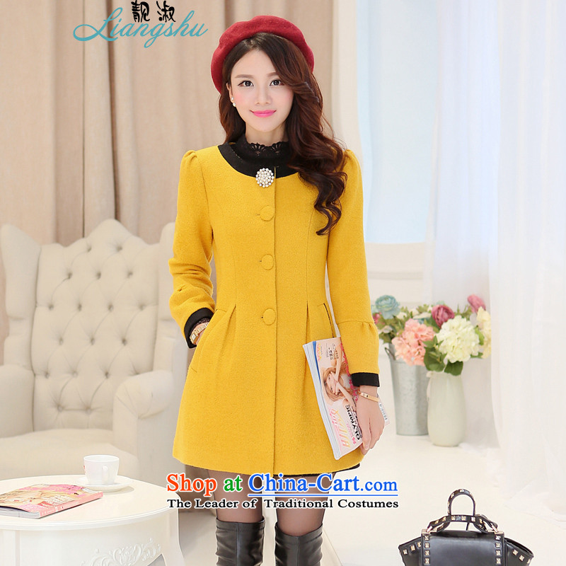 Hee-el gross? 2015 autumn and winter coats of Korean version of the new trendy Wild Hair? long coats that female yellow燣