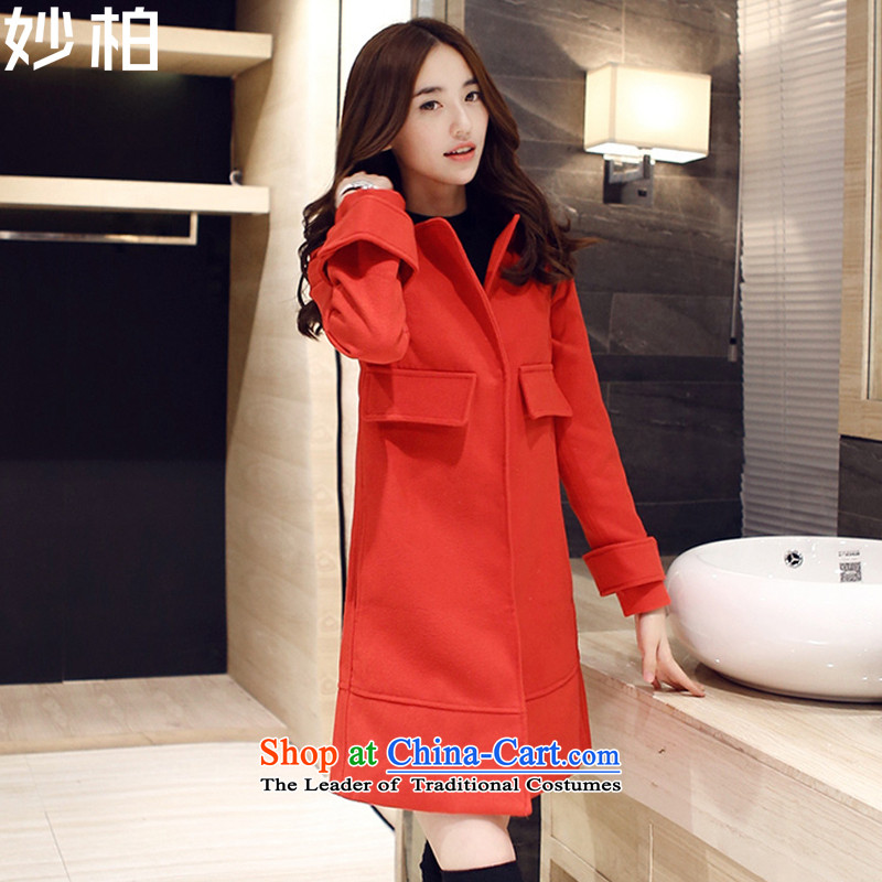 Mya Pak gross? 2015 autumn and winter coats the new Korean version in the medium to long term, Sau San duplex jacket, Red?S