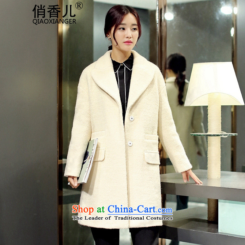 For?autumn and winter 2015-heung-new ladies hair? Jacket Korean modern long-sleeved single row detained temperament, long thin graphics elegant gross overcoats female beige??L
